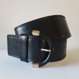 "Banana Republic 2"" Wide Black Leather Belt NWOT"